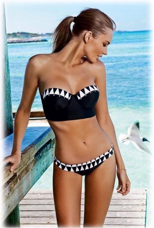 swimwear black geometric black and white bikini