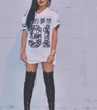 long dress white sportswear style black black and white dress overknee number tee chinese asian fashion cute top large top sexy black hair purple lipstick instagram gorgeous casual graphic tee japanese shirt