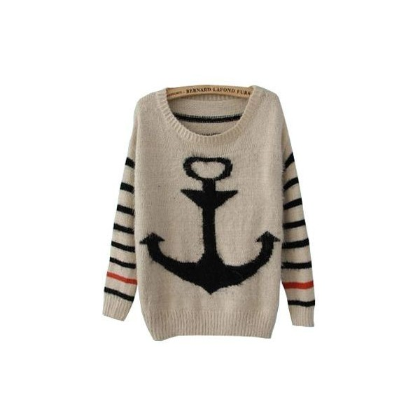 Black Striped Long Sleeve Anchor Print Mohair Sweater - Polyvore