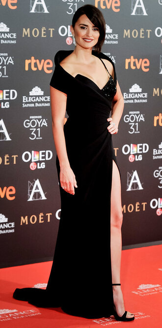 dress black dress penelope cruz gown prom dress slit dress red carpet dress maxi dress