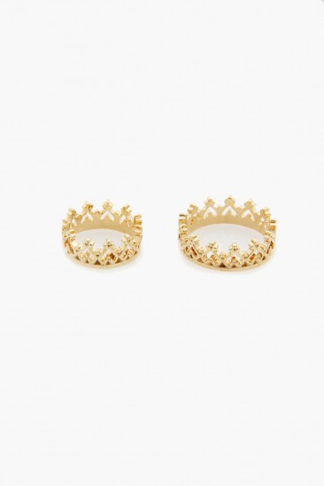 LoveMelrose.com From Harry & Molly | Heart Crown Double Layer Rings - Gold