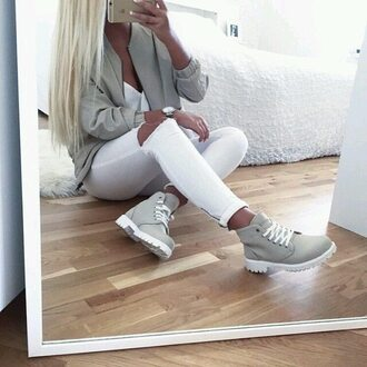 grey jacket white ripped jeans timberlands dope jacket grey bomber jacket shoes white timberland boots outfit laces winter outfits boots with laces shoes winter grey boots light green grey bomber green skinny jeans high waisted jeans fashion vibe trendy cute jeans