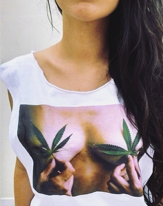 shirt t-shirt white white shirt weed sex weed shirt tank top muscle tee nipples titties breast glorious gorgeous other awesome stuff top leaves boobs shirt boobs girly sexy