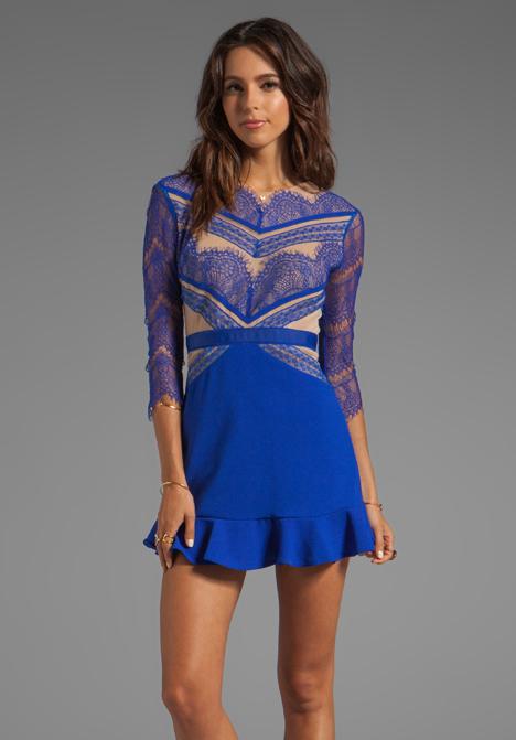 THREE FLOOR Shades of Blue Long Sleeve Dress in Cobalt Blue/Nude - Three Floor