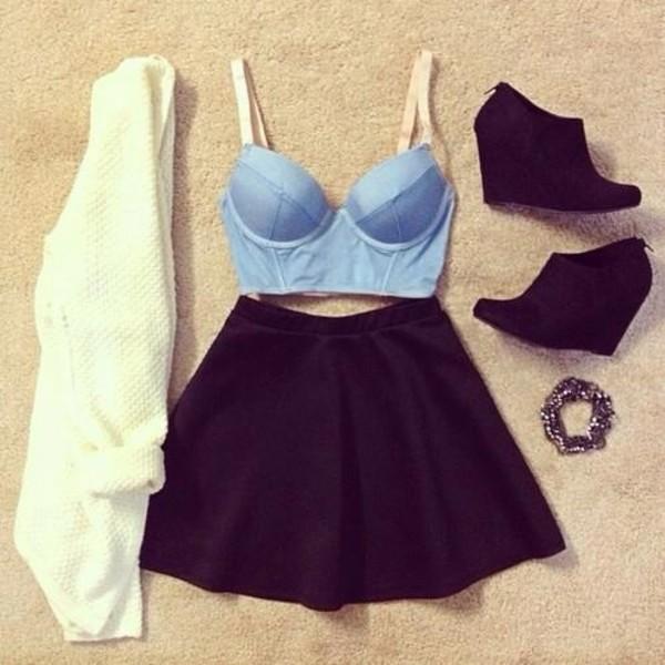 tank top crop tops denim shirt black skirt black skater skirt high heels black high heels skirt sweater shoes