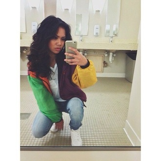jacket fleece zip-up clothes iphone girl teenagers outfit hair pretty shoes swag windbreaker multicolor colorblock colorful bomber jacket