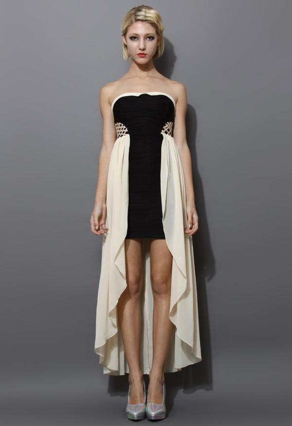 dress chiffon paneled bustier dress