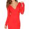 Mesh long sleeve high low bandage dress red
