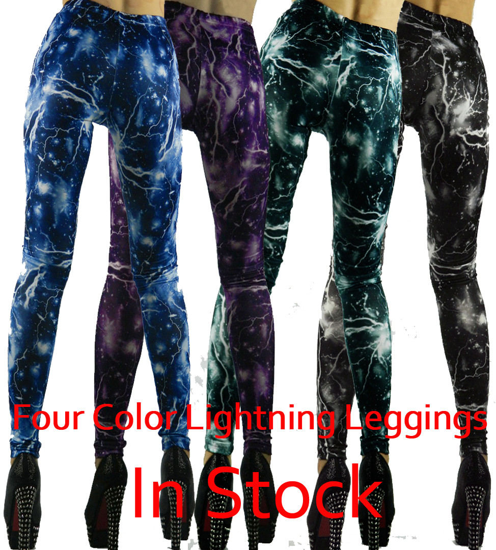 Gothic Punk Sexy Lightning Print Leggings Tights Pants Blue Black Green Purple | eBay