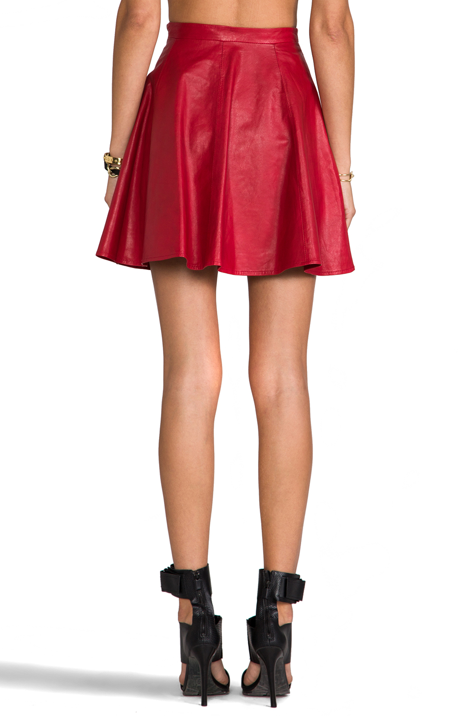 Lovers   Friends Charlie Skirt in Red Leather | REVOLVE