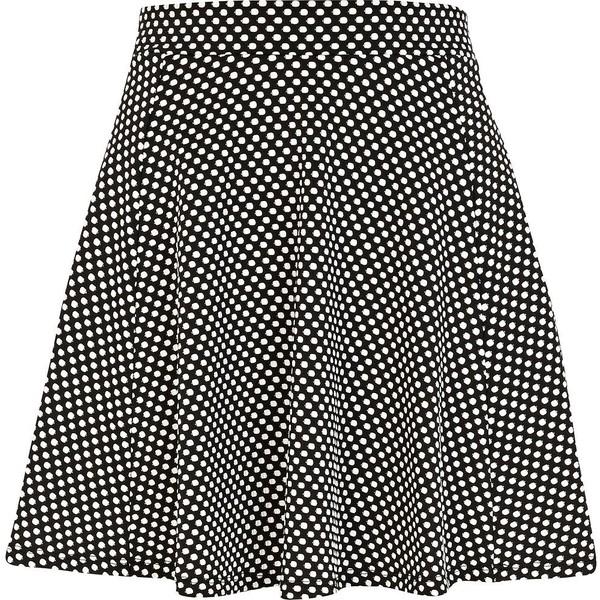 River Island Black and white polka dot skater skirt - Polyvore