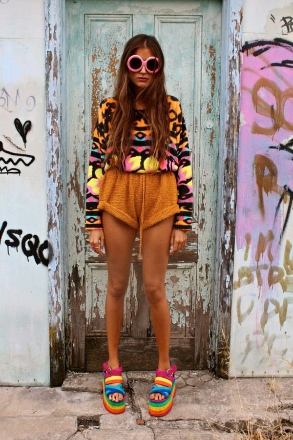 sweater rainbow shorts shoes sunglasses tumblr colorful