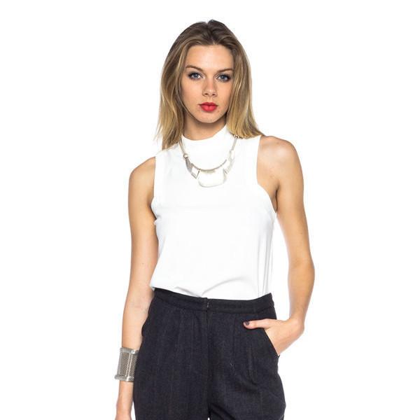 shirt blanc modern top white sleeveless tank top mockneck style chic makeup table vanity row rock vogue dress to kill