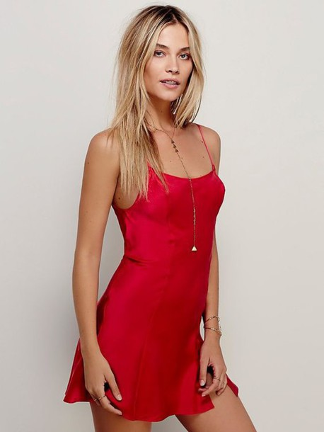 Dress: red dress, red slip dress, slip dress, mini dress ...