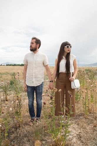 kelsey bang blogger shirt jeans shoes bag sunglasses make-up pants