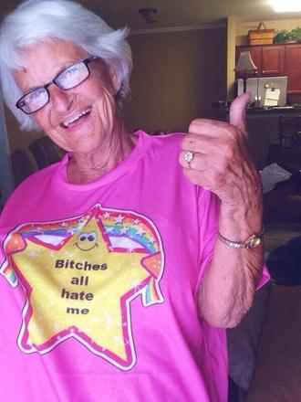 shirt pink stars rainbow bitch all hate me t-shirt short sleeve hot pink top baddies best