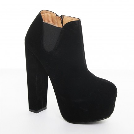 Platform Block High Heel Slip On Chelsea Boots - Black Suede