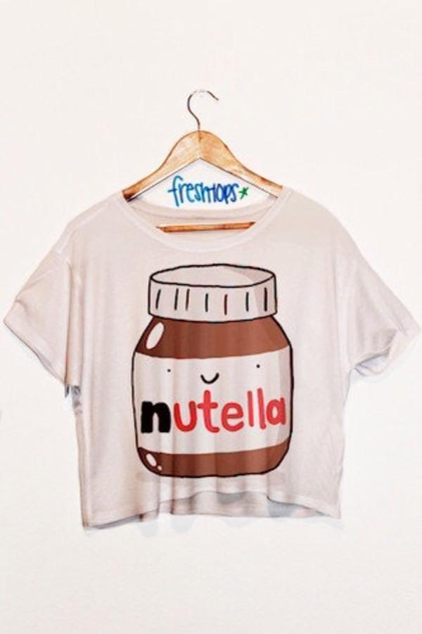 t-shirt nutella shirt in love freshtops nutella shirt freshtops freshtops blouse top cartoon white crop tops kawaii crop tops