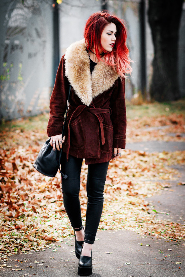 coat coat fall outfits winter outfits fur burgundy girl luanna perez leaves furcoat red jeans bag vintage fashion