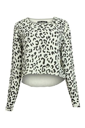Stylish Leopard Pattern Sweater [FKBJ10172] - PersunMall.com