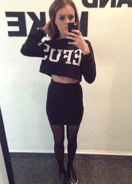sweater printed black cropped sweatshirt black cropped sweatshirt crop top and pencil skirt cotton