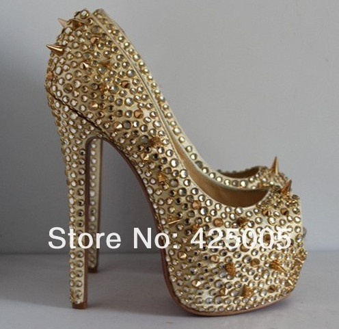 Hot Gold Rhinestone Studded Open Toe Thin High heel Wedding Bridal sandals,Hot red bottom crystal spike platform shoes-in Pumps from Shoes on Aliexpress.com