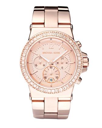 Michael Kors Baguette-Bezel Watch, Rose Gold - Michael Kors