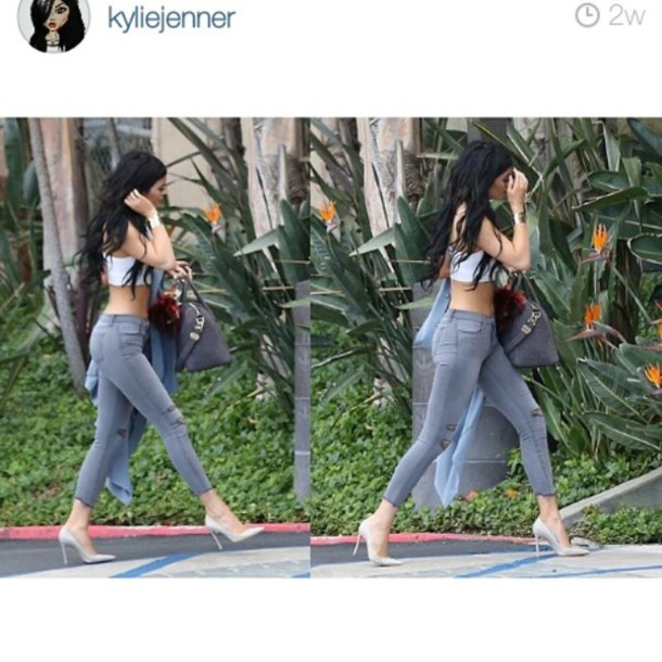 shoes kylie jenner croptops rip top grey jeans blouse