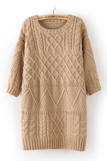Vintage Three-quarter Sleeve Knitting Dress [FXBI00371]- US$45.99 - PersunMall.com