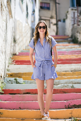 miami + dallas based lifestyle and fashion blog blogger romper shoes sunglasses jewels make-up blue romper button up stripes summer outfits