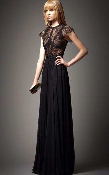 dress black prom dress lace dress formal