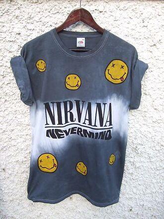 nirvana t-shirt nevermind nirvana nevermind smiley tie dye kurt cobain