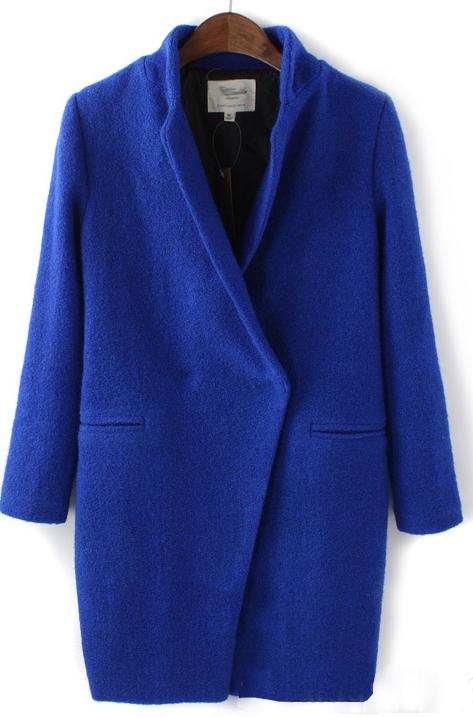 Royal Bule Long Sleeve Lapel Coat - Sheinside.com
