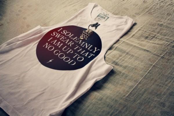 shirt harry potter dress white writting