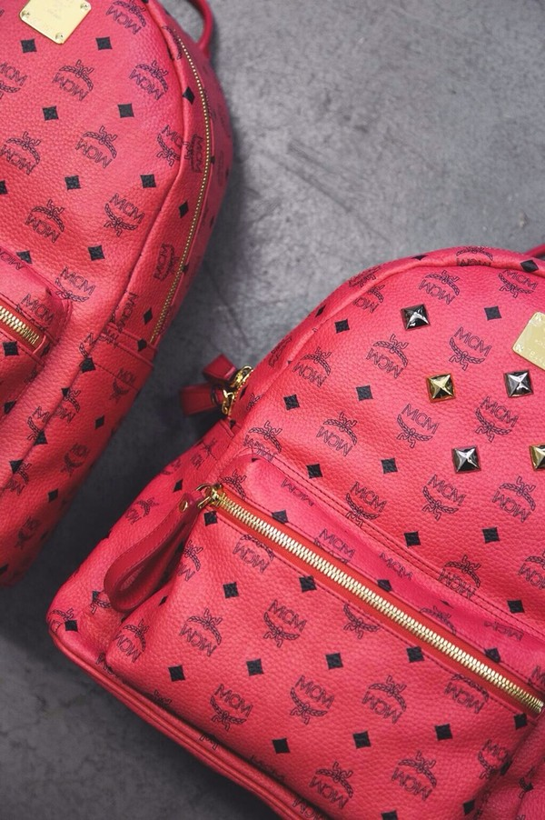 bag mcm backpack leather backpack printed backpack luxury red all red wishlist