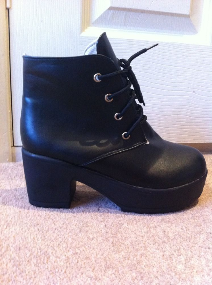 Chunky Black Block Heel Lace Up Ankle Boots Size 4 or 3 | eBay