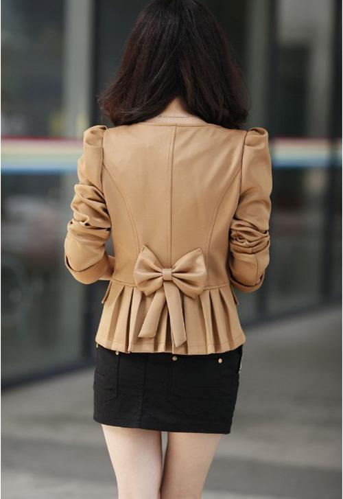 Women Blazer Jacke Top Eng Geschnittenes Zweireihiger Bowknot Puffärmeln 3709   eBay