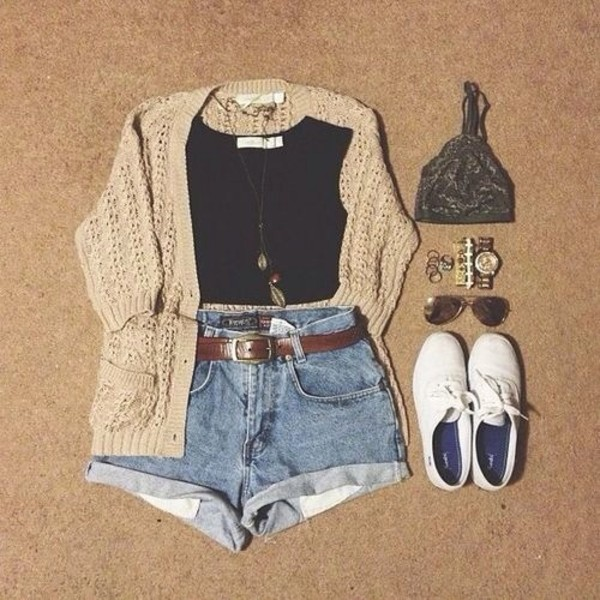 sweater cardigan cute jewels shoes blouse black crop top shorts high High waisted shorts jeans high waisted denim shorts outfit shirt top