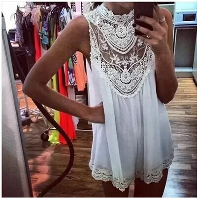Summer dress 2014 Lace dress Sleeveless  Sexy Hollow Out  Flower Mini Dress Good quality wholesale Casual dress Free shipping-in Dresses from Apparel & Accessories on Aliexpress.com