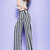 White Black Stripe Chiffon Trendy Flare Leg High Waisted Pants - Morpheus Boutique