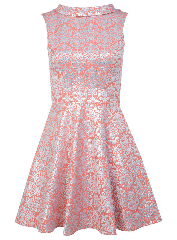 dress coral baroque dress coral floral jacquard dress