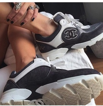 shoes chanel sneakers grey white black basket