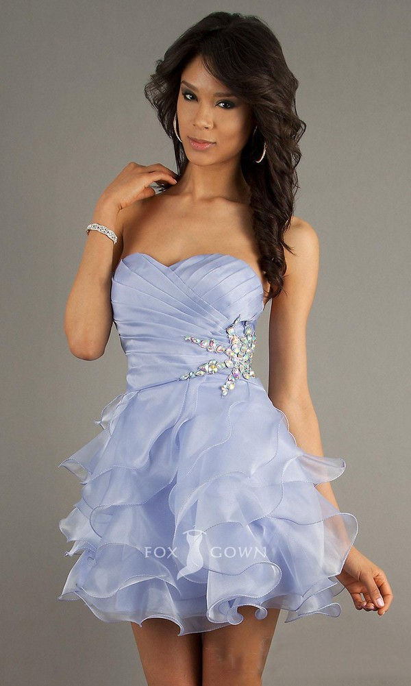 dress lavendar lilac silver glitter ruffle tulle skirt strapless sweetheart trendy hot lavender prom dresses lilac dress frilly