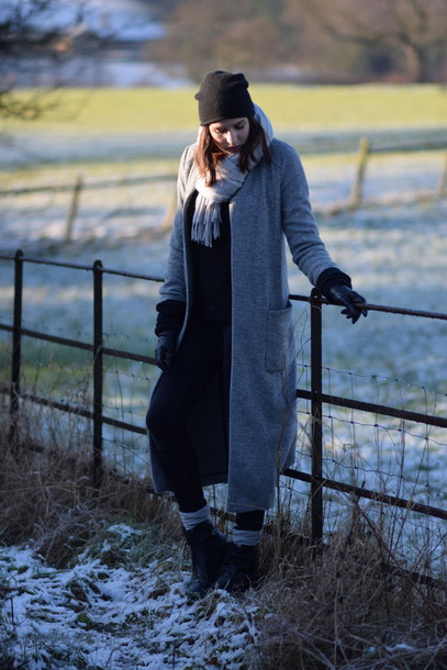 shot from the street blogger scarf gloves winter coat long coat shoes socks jeans sweater coat hat