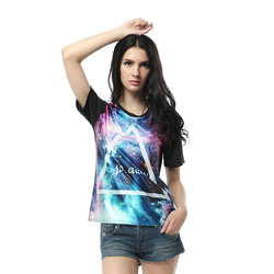 Online Shop Free shipping GO AWAY word Triangle Galaxy Background Print Crazy Women Tees top/ T-shirt  Aliexpress Mobile