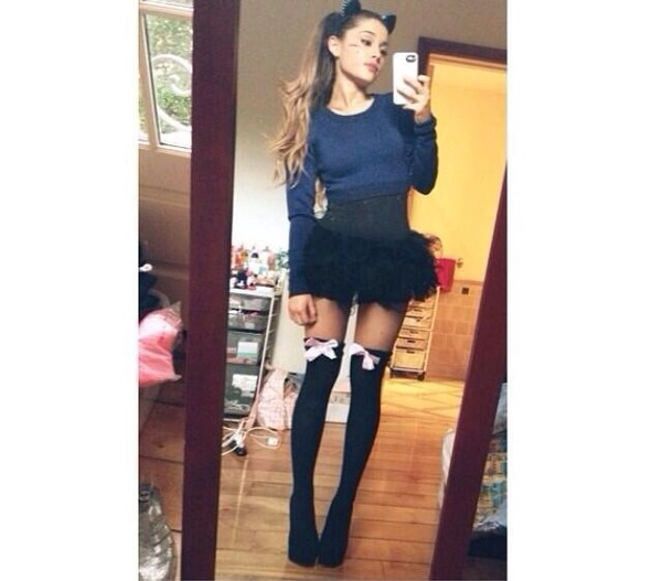 skirt ariana grande shoes underwear suspender tights bow blouse socks top high heels cat ears fashion style bows selfie mirrored knee high socks black hair accessory target shirt tights petticoat tutu crop tops