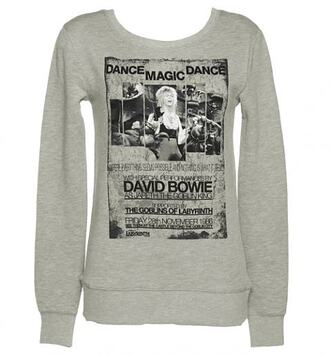 sweater david bowie david bowie dance magic dance dance labyrinth 1980s 1986 80s style grey black british long sleeves pullover warm cute winter outfits font quote on it song picture jareth goblin king retro european pop music artist square u-neck scoop neck thermal unisex shirt classic timeless