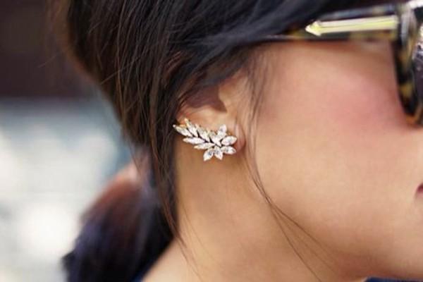 jewels earrings jewelry diamonds studs bling ear cuff Accessory accessories trendy cuff diamonds