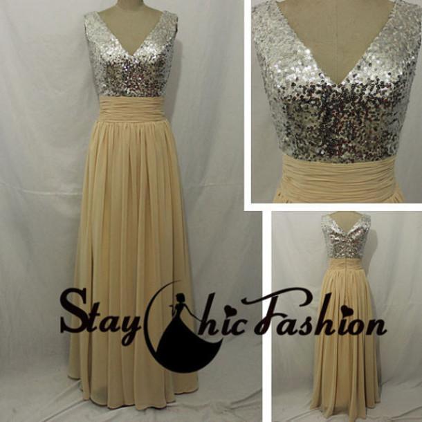 dress prom dress bridesmaid sequined top dress nude long dress chiffon evening dress
