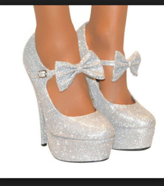 shoes bows sparkle silver heels glitter silver bow cute fashion silver bow heels heels
